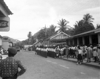 Bishop's College students line up in the Market Square.