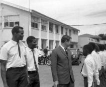 Rodge Gay, Mr Alleyne, Governor Turbott, Bishop's College students.